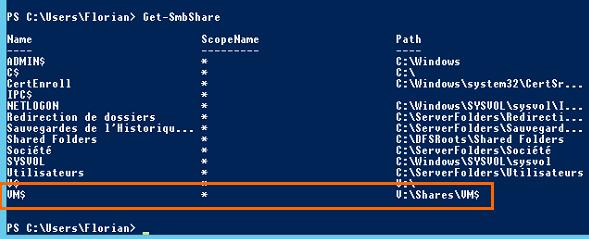 Le partage VM$ apparaît bien dans la liste des partages disponibles sur le serveur