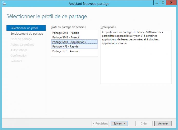 Sélection d'un profil de partage SMB adapté à Hyper-V
