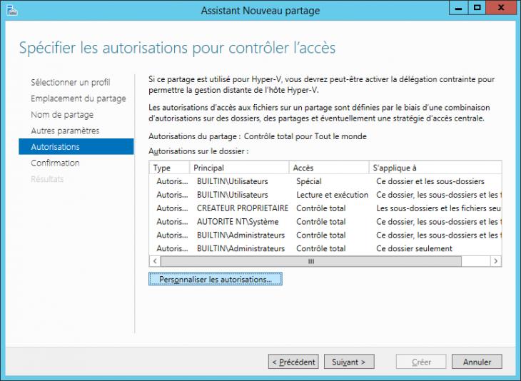 La gestion des droits NTFS et du partage