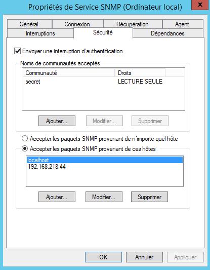 SNMP - Onglet Sécurité