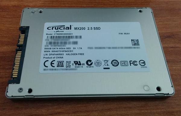SSD Crucial MX200 - Vue de dessous
