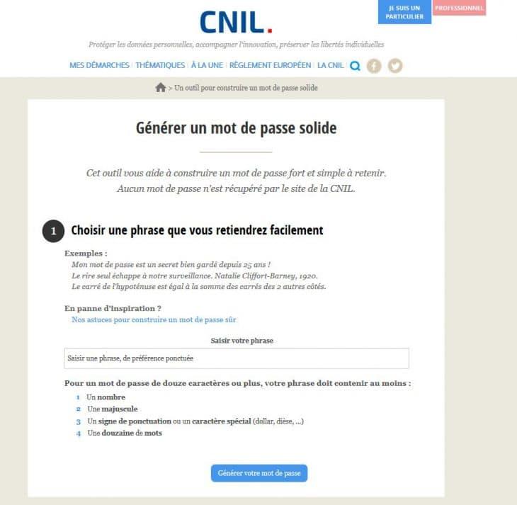 """Portail """"Générer un mot de passe solide"""" de la CNIL"""