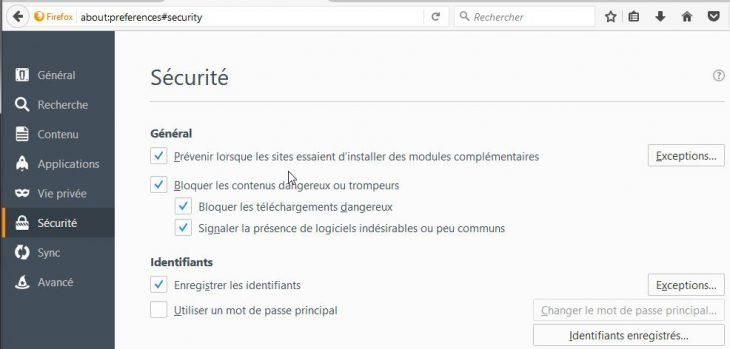 Activation du mot de passe principal (Master Password) dans Firefox