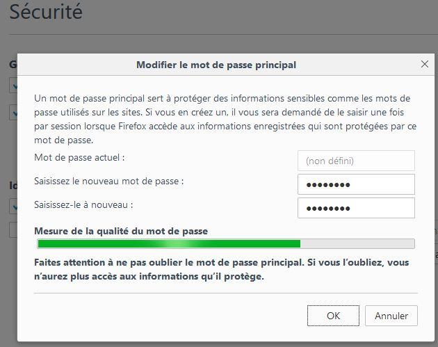 Initialisation du mot de passe principal (Master Password)