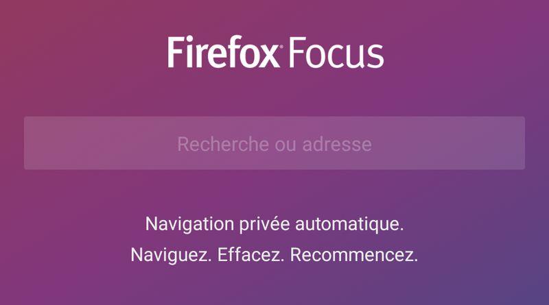 Firefox Focus sur Android : 100% vie privée