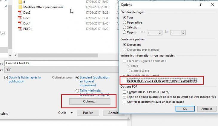 Désactiver l'insertion des attributs d'accessibilité lors de la génération d'un fichier PDF