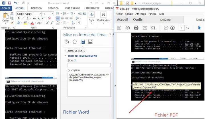 Affichage d'un chemin d'image dans un fichier PDF généré par Word.