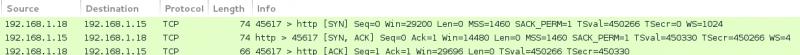 Sniff réseau lors d'un TCP Connect scan pour un port ouvert.