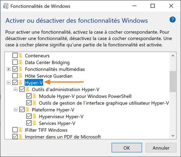 Installer Hyper-V sur Windows 10