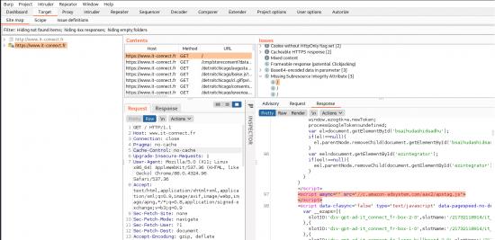 Utilisation de l'extension SRI Checker dans BurpSuite