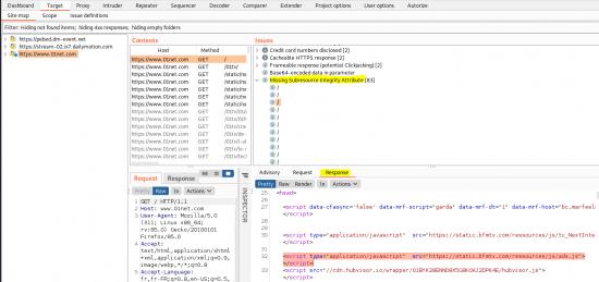 Utilisation de l'extension SRI Check dans BurpSuite