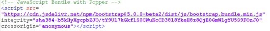 Lien d'intégration du Javascript Boostrap fourni sur le site officiel