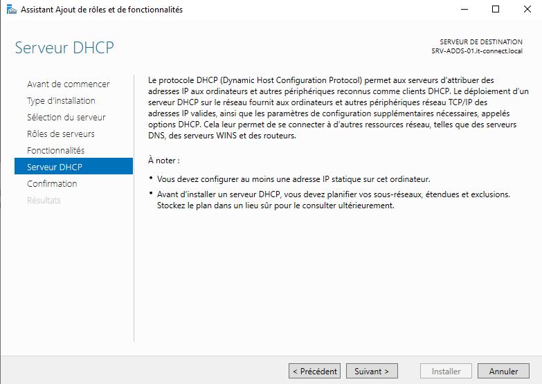 serveur DHCP sous Windows Server 2019