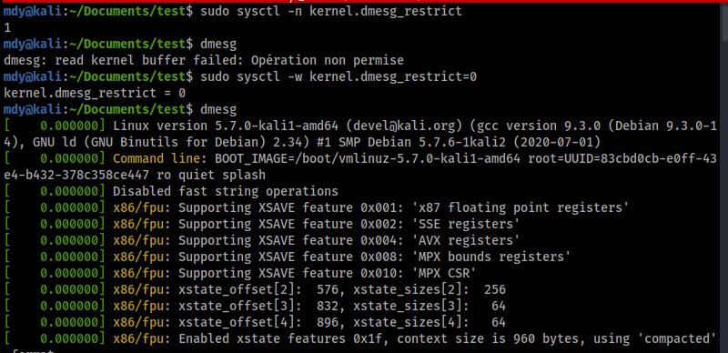Effet de la sysctl kernel.dmesg_restrict