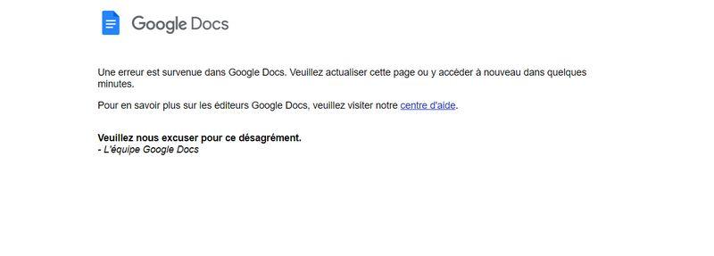 Panne Google Docs