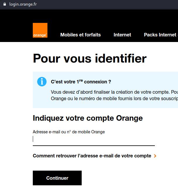 Page de login Orange
