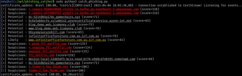 Utilisation de phishing catcher (configuration par défaut)