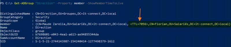 Active Directory ajouter utilisateur à un groupe temporairement