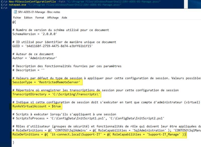PowerShell JEA - Exemple de fichier PSSC (PowerShell Session Configuration File)