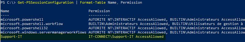 Get-PSSessionConfiguration - Lister les configurations de sessions