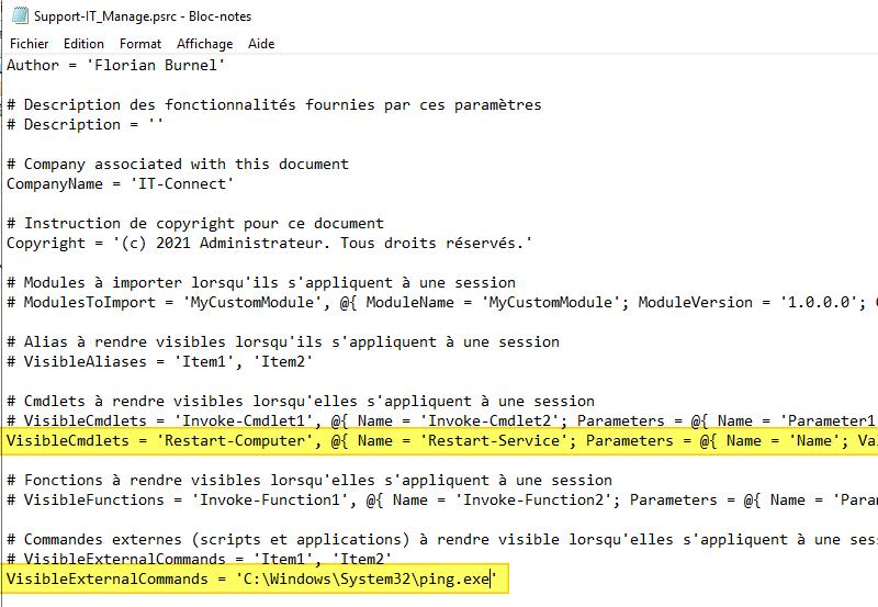 PowerShell JEA - Exemple de fichier PSRC (PowerShell Session Role Capabilities)