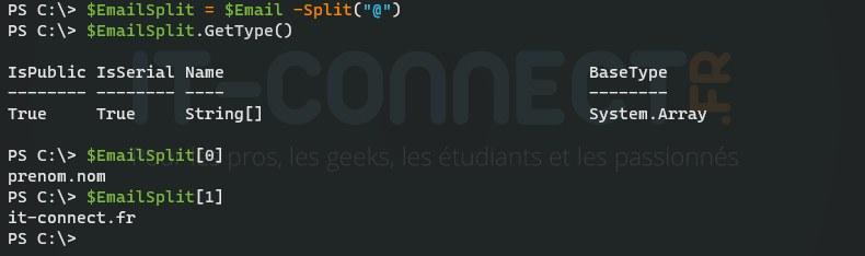 PowerShell Split() - Exemple