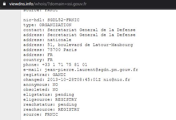 Enregistrement WHOIS du domaine ssi.gouv.fr