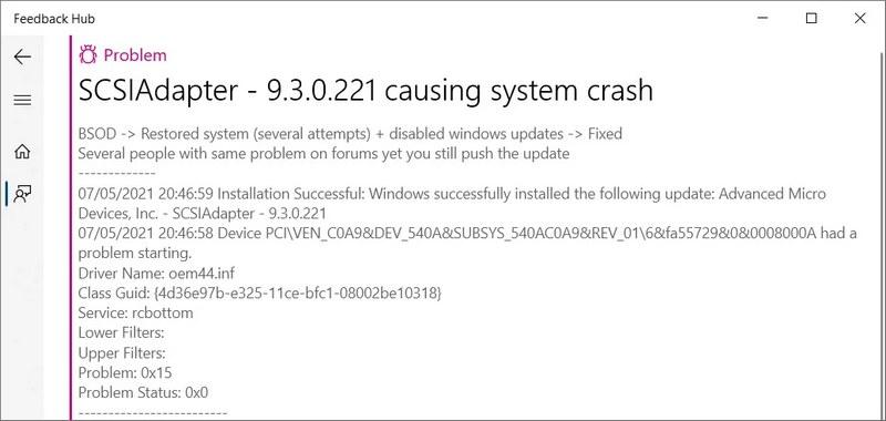 Bug Windows 10 - SCSIAdapter - 9.3.0.221