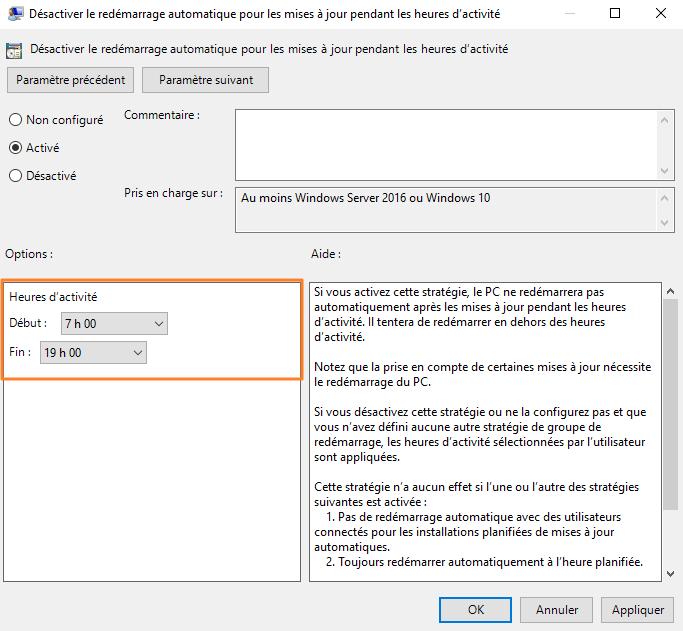 GPO - Heures d'activité Windows Update
