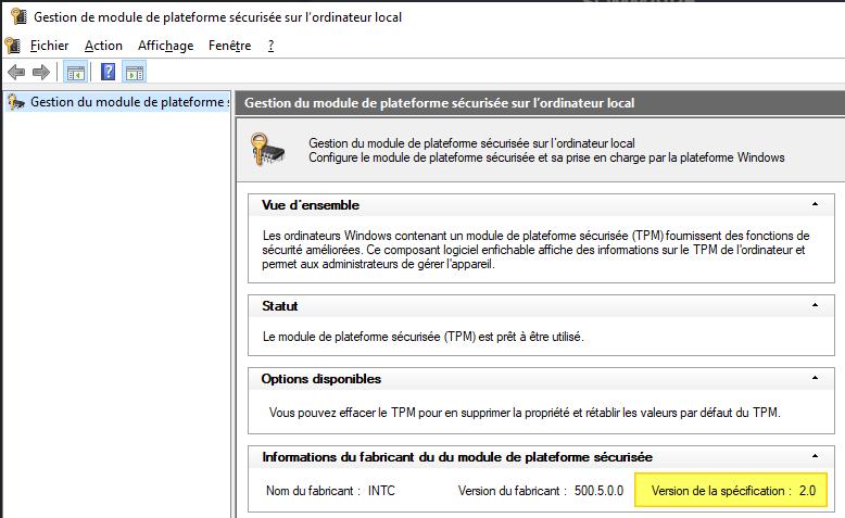 Etat de la puce TPM sur Windows