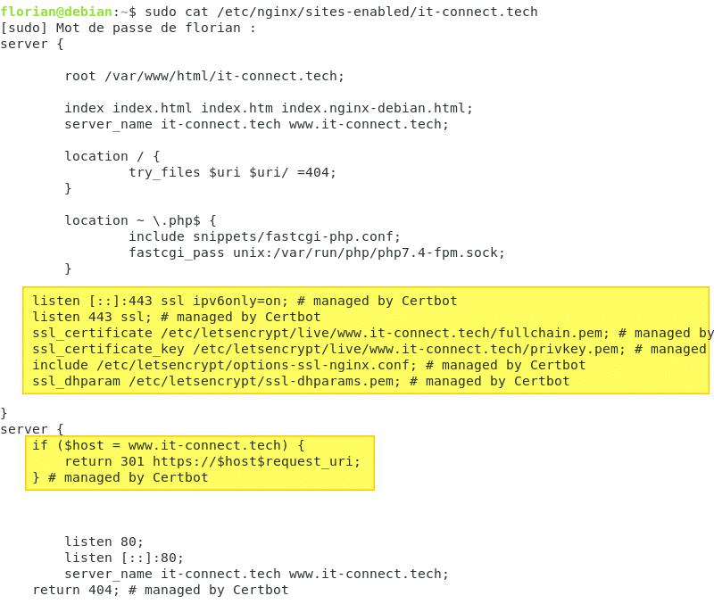 Intégration du certificat Let's Encrypt dans la configuration de Nginx