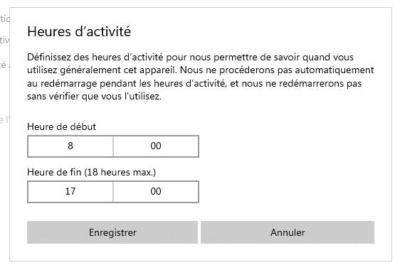 Windows 10 Heures d'activité