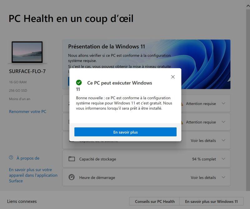 Prérequis Windows 11