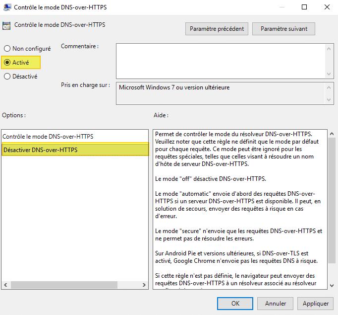Contrôle le mode DNS-over-HTTPS