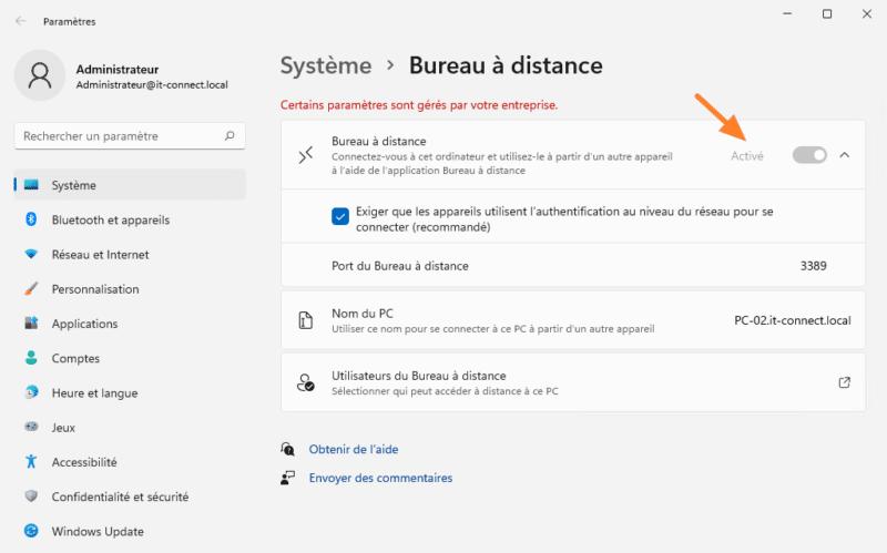 L'état du Bureau à distance dans Windows 11