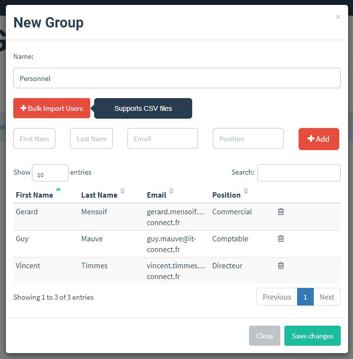 Importer les utilisateurs dans Gophish