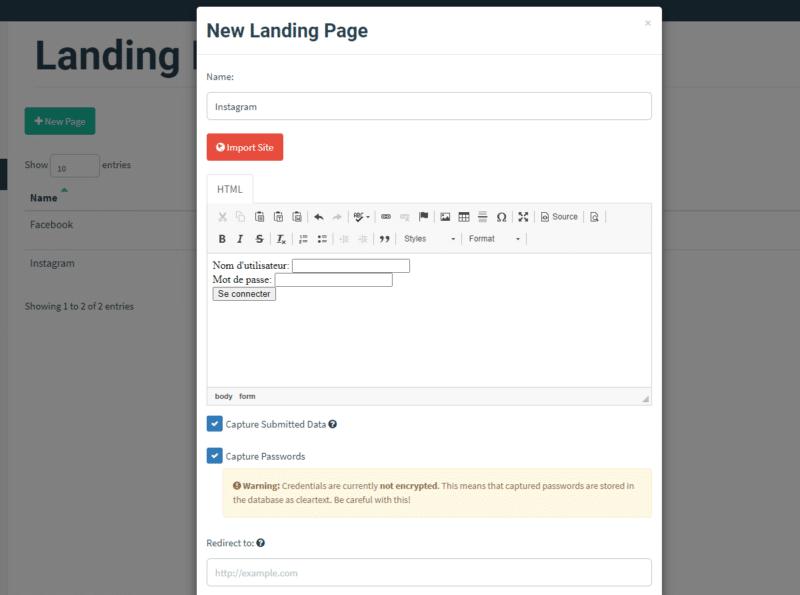 Création d'une landing page Gophish