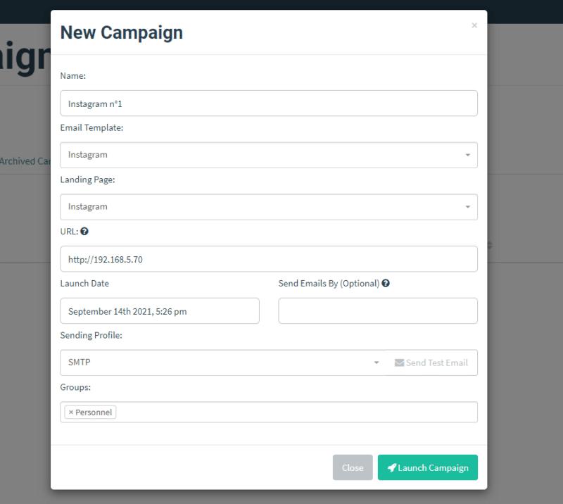 Créer une campagne dans Gophish