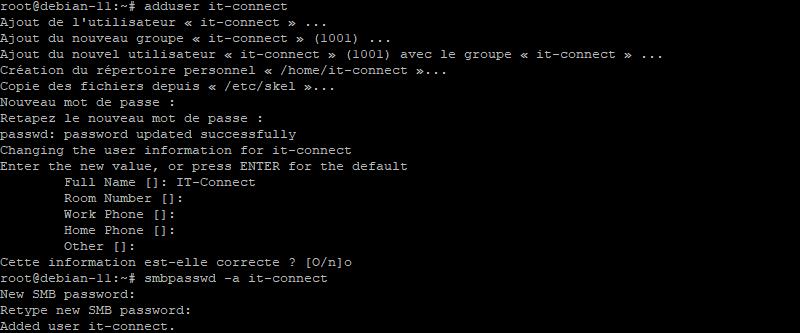 Créer l'utilisateur et définir son mot de passe Samba avec smbpasswd