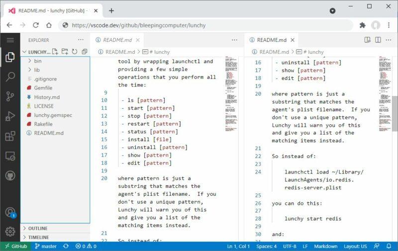 Aperçu de Visual Studio Code for the Web