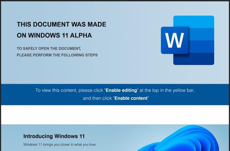 "Aperçu du document Word ""Windows 11 Alpha"""