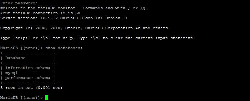 Première connexion à MariaDB en ligne de commande