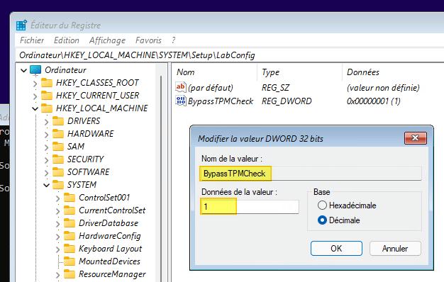 Windows 11 : création de la valeur BypassTPMCheck