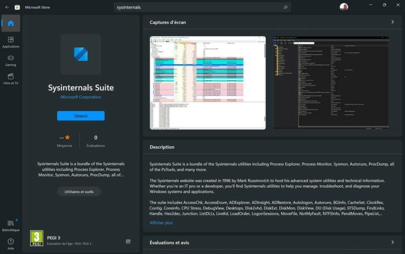La suite Sysinternals dans le Microsoft Store