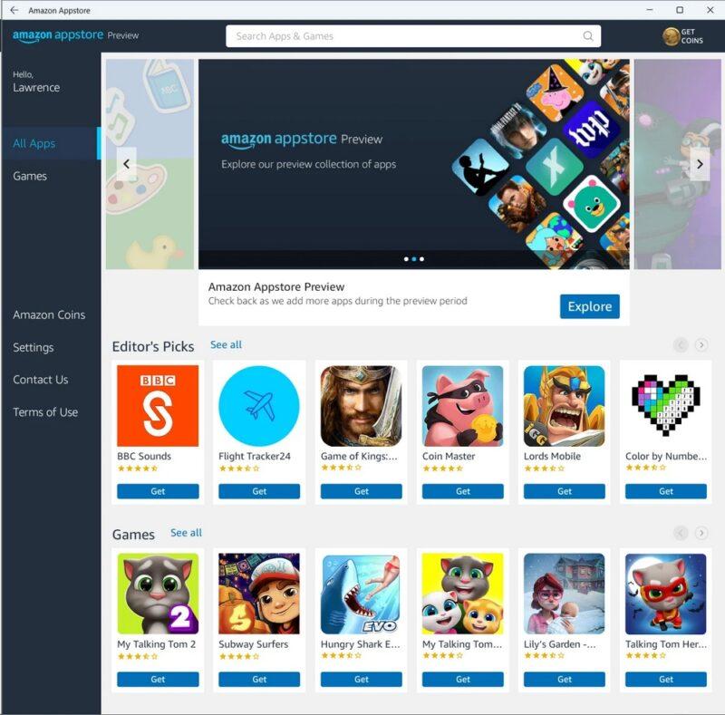 Amazon Appstore sur Windows 11